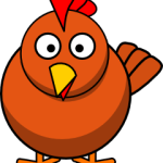 cute, adorable cartoon chicken with big eyes and beak and legs