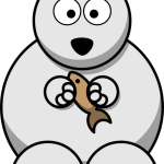 cute, adorable cartoon polar bear with big eyes and fish