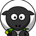 cute, adorable cartoon sheep with big eyes
