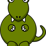 cute, adorable cartoon t-rex carnivorous dinosaur with big eyes