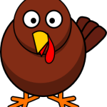 cute, adorable cartoon turkey with big eyes, thanksgiving