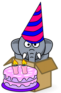 Cute elephant in box with birthday cake and hat