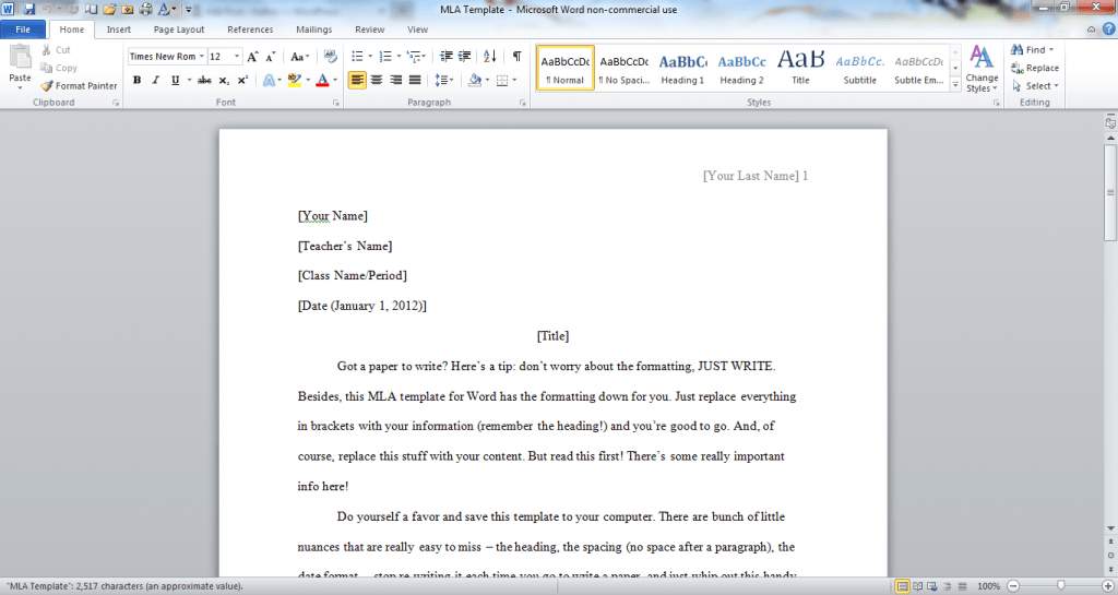 mla format for word
