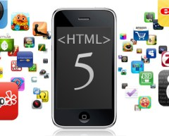HTML 5 logo on an iPhone smartphone with app icons around it in a cloud