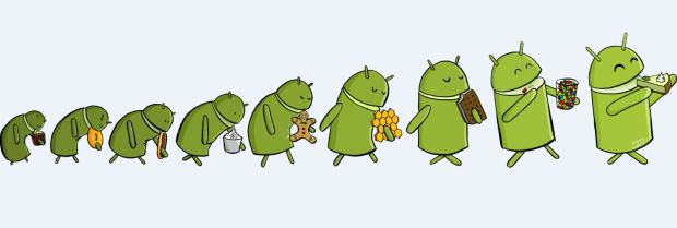 Cute graphic of android version evolution