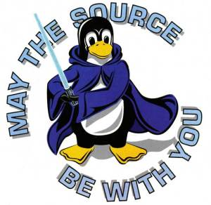Funny open-source cartoon with Tux