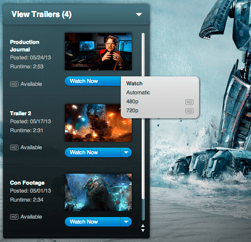 hd movie trailers: