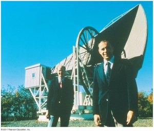 Penzias und Wilson vor ihrem Radioteleskop