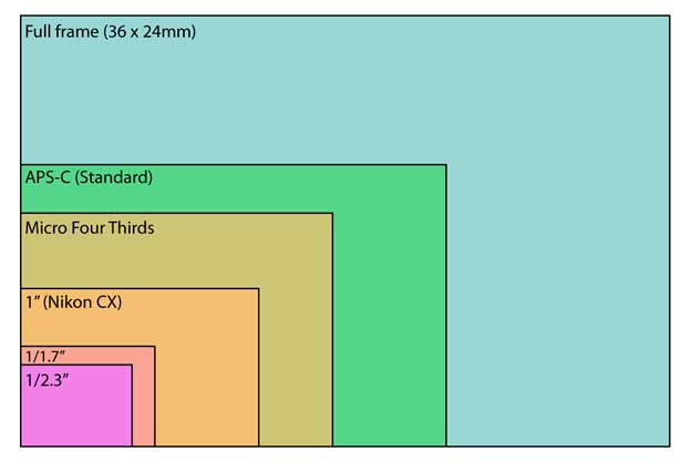 Digital camera sensor size chart and comparison