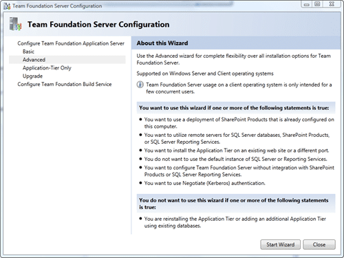 Team Foundation Server Configuration - Advanced