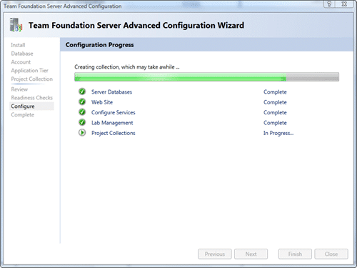 Team Foundation Server Configuration - Advanced - Configure after 50 seconds
