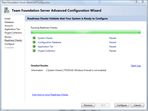 Team Foundation Server Configuration - Advanced - Rediness Checks