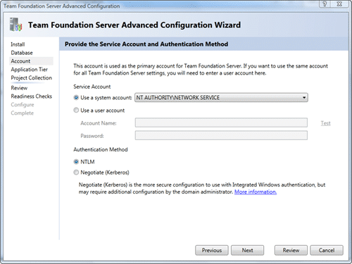 Team Foundation Server Configuration - Advanced - Account