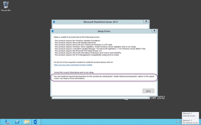 Don't run setup for SharePoint 2013 from the ISO