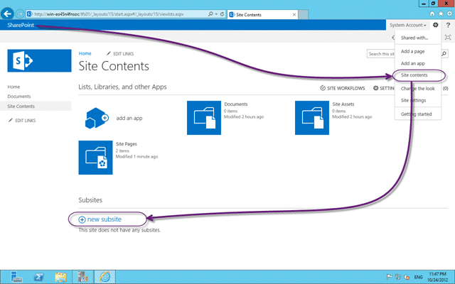 Create new sub site from the Site Content page in SharePoint 2013