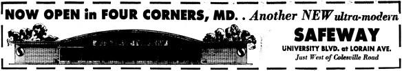 Four Corners Safeway opening advertisement. The Washington Evening Star, October 4, 1962.