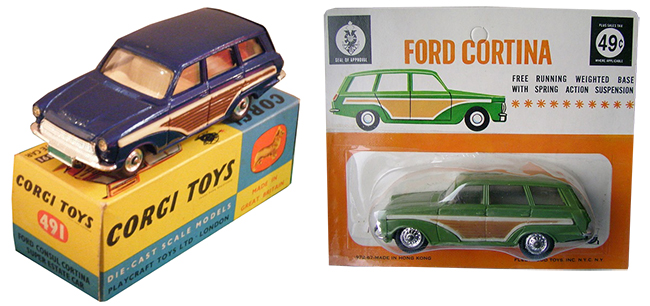 Ford Cortina Estates by Matchbox (left) and Fleetwood Toys