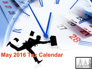 May 2016 Tax Calendar