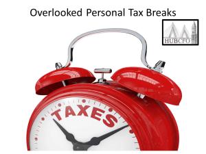 Overlooked Personal Tax Breaks