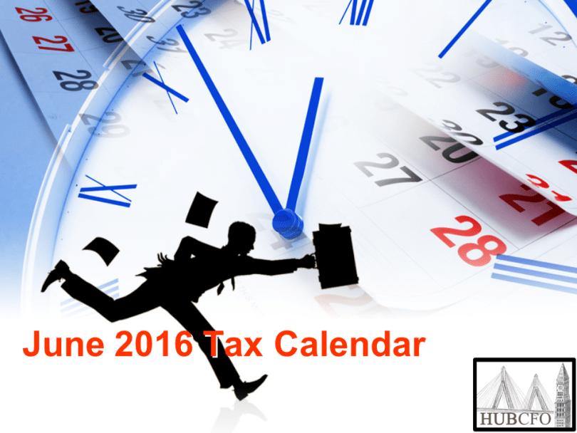June 2016 Tax Calendar