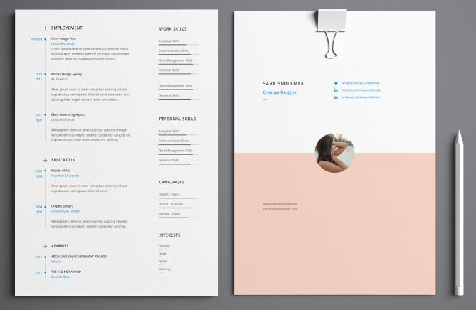 free cv cover page design