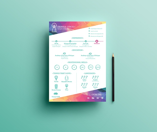 colourful resume template download