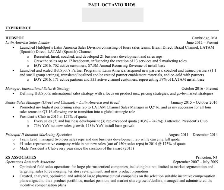 buzzwords for sales resume
