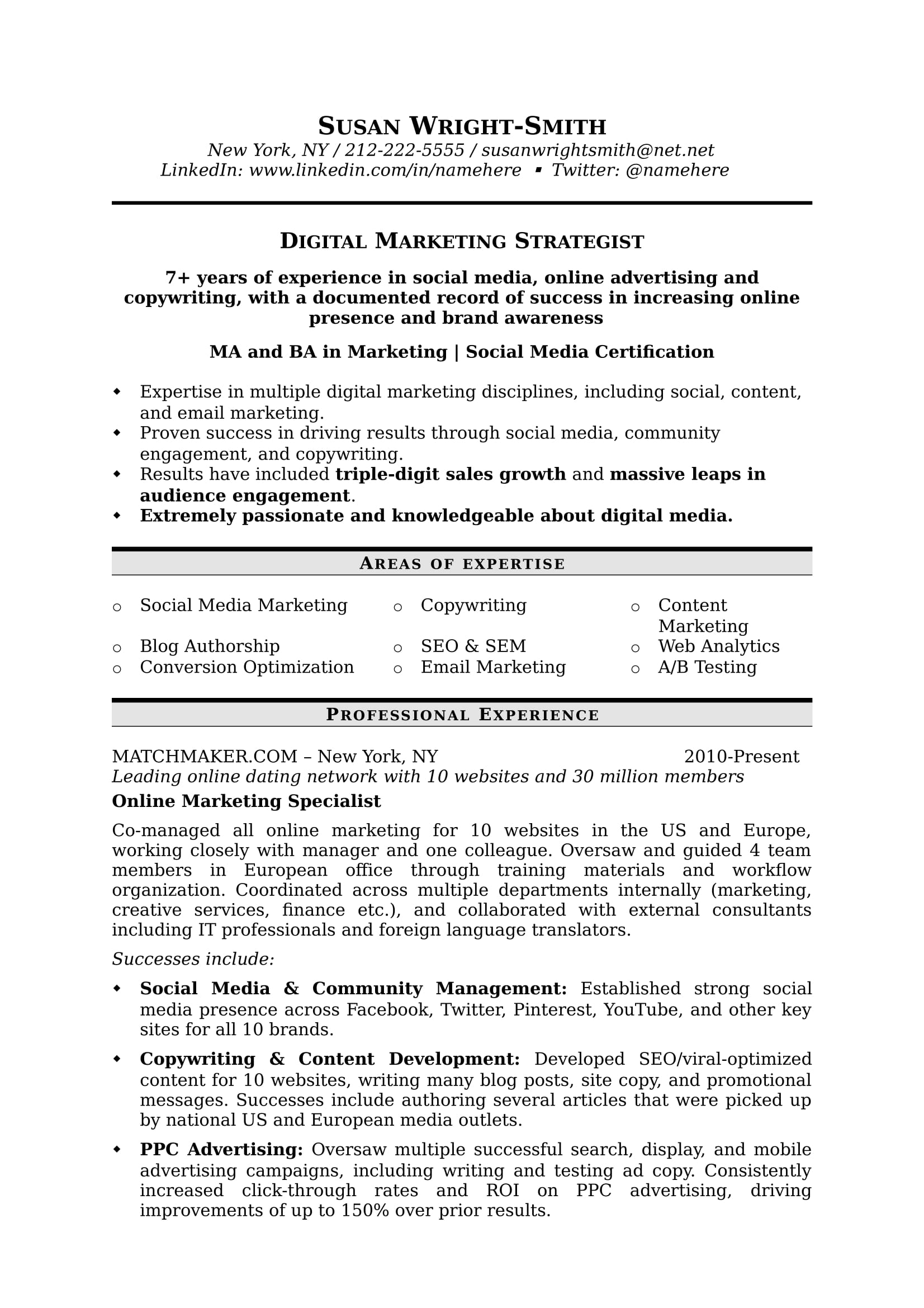 How to Write a Marketing Resume Hiring Managers Will Notice Free - resume for experienced professionals