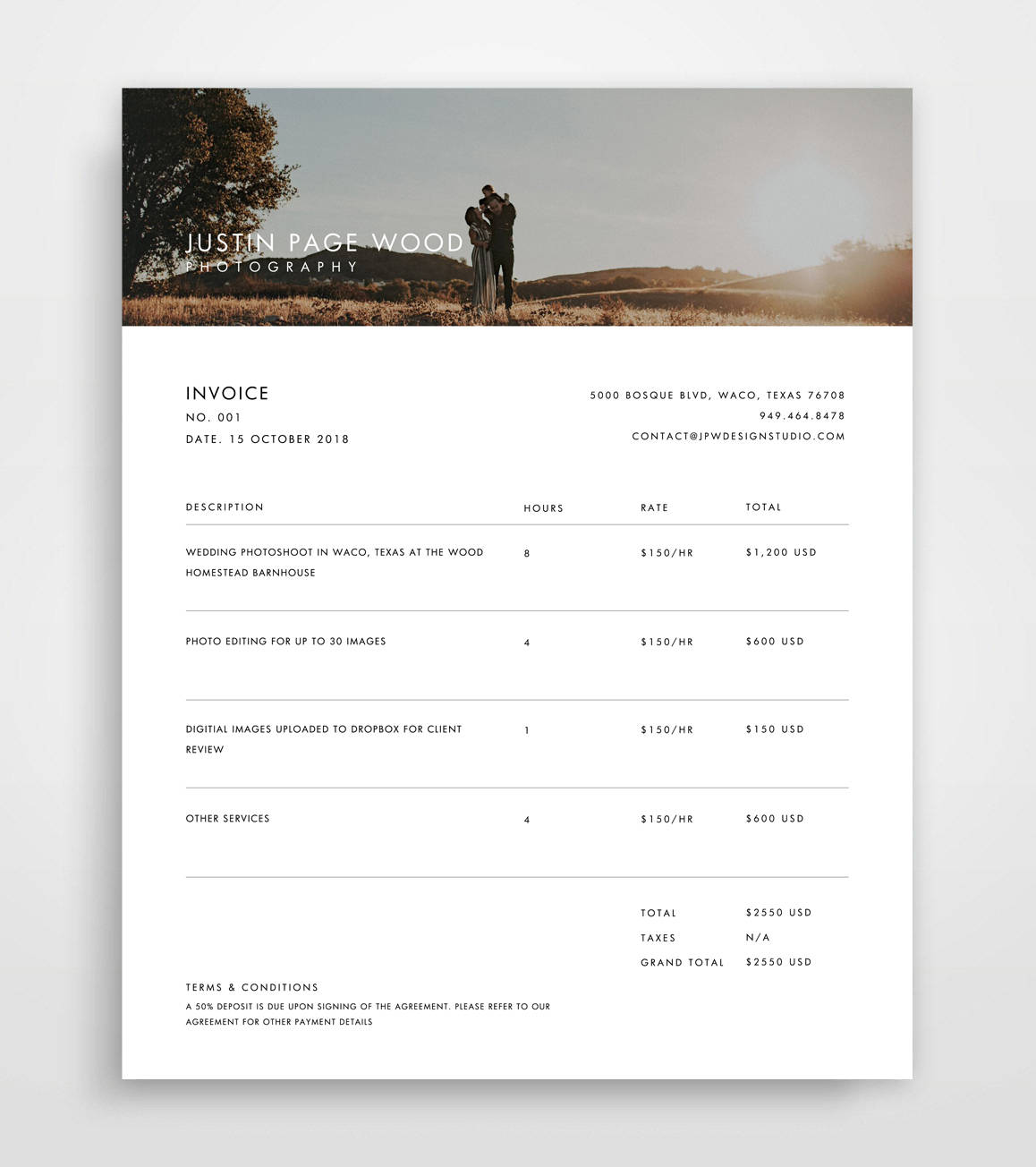 Professional Invoice Samples 10 Designs to Inspire You - photography invoice sample