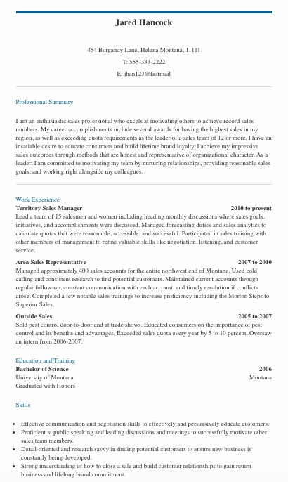 sales resume summary of qualifications examples