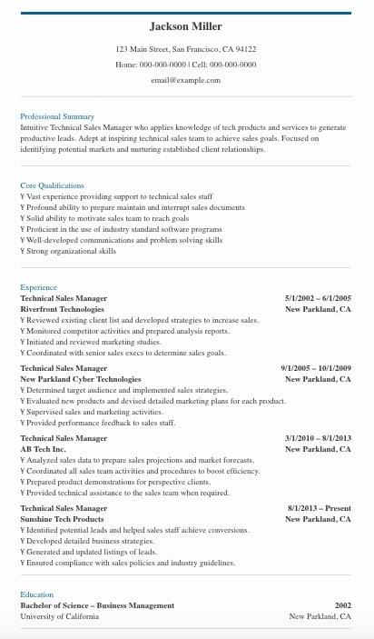 sample resume summaries for sales