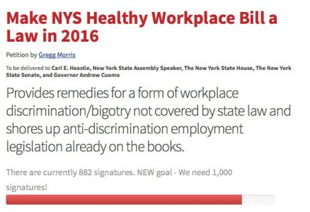 Update on Petition Supporting NYS Healthy Workplace Bill « The - creating signers form for petition