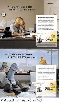 microsoft dinosaur head campaign