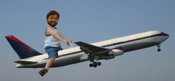 Karthik on a plane