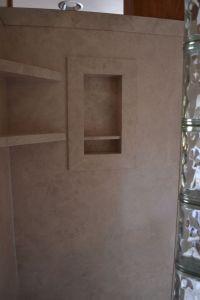 Glass block walk in shower with DIY interior shower wall ...