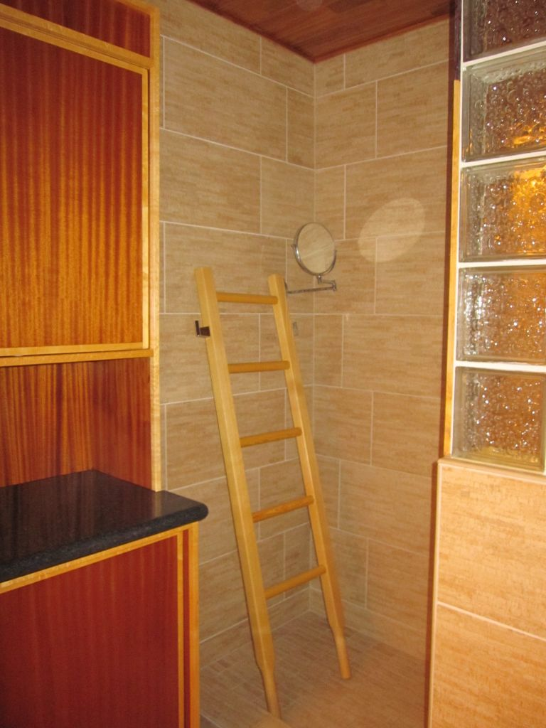 Birch Cabinets For Small Kitchen Decorative Glass Block Shower, Bamboo Porcelian Tiles