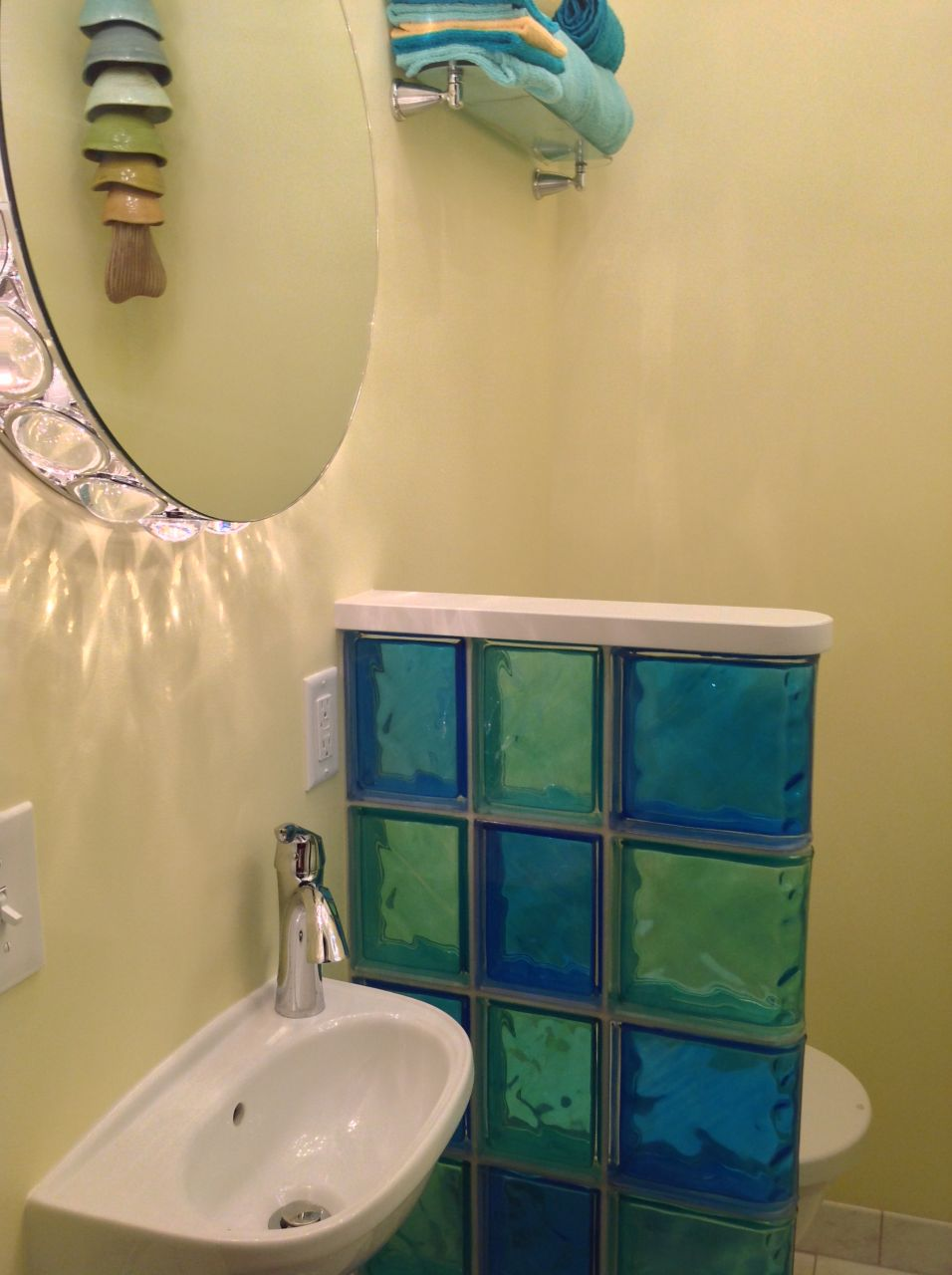 Colored Glass Block Shower Partition Walls In A Condo Remodeling Cleveland Heights Ohio