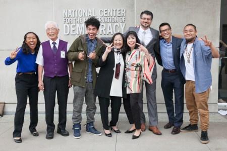 "National Youth Summit presenters celebrate a successful event. L to R: Mariko Rooks, William ""Bill"" Shishima, Kane Tenorio, Lori Bannai, Karen Korematsu, Hussam Ayloush, David Ono, and G Yamazawa."