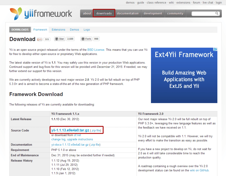 yii framework download