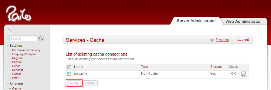 Verify Railo Cache