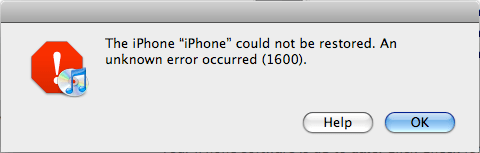 iTunes Erreur 1600 : Restauration Impossible