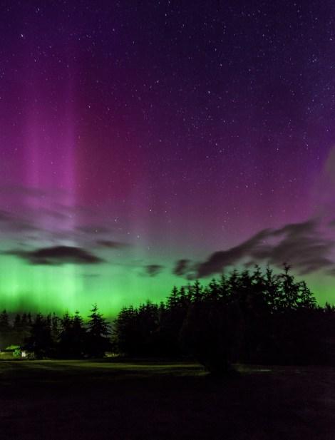 Aurora Borealis from Freeland, Whidbey Island, WA