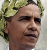 Emperor Obama wearing laurel wreath