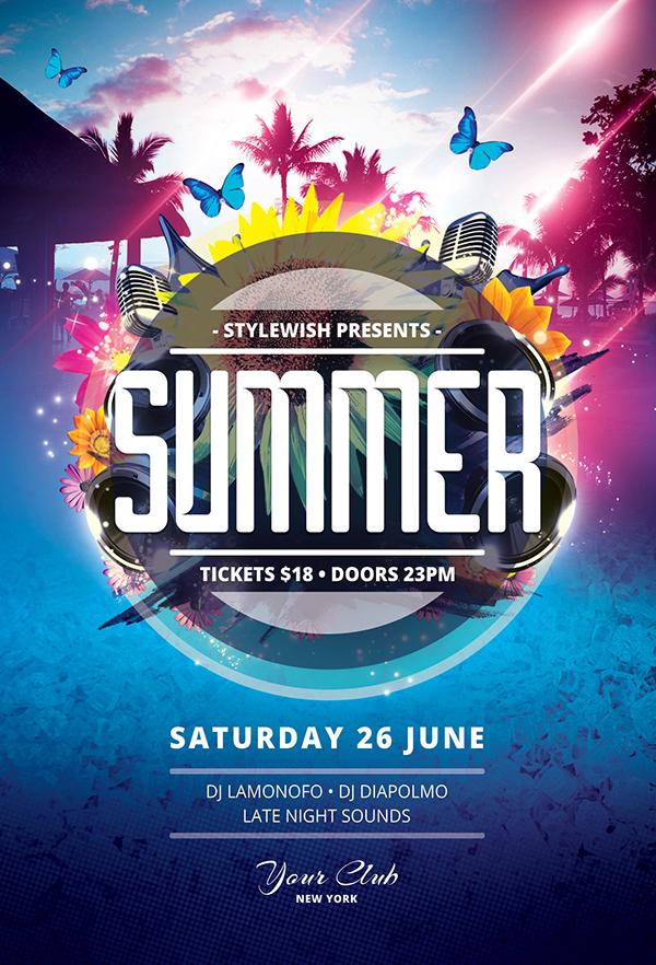 20 Creative Summer Flyers / Poster Designs Graphics Design - summer flyer template