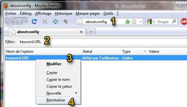 Les étapes pour restaurer le moteur de recherche par défaut dans Firefox