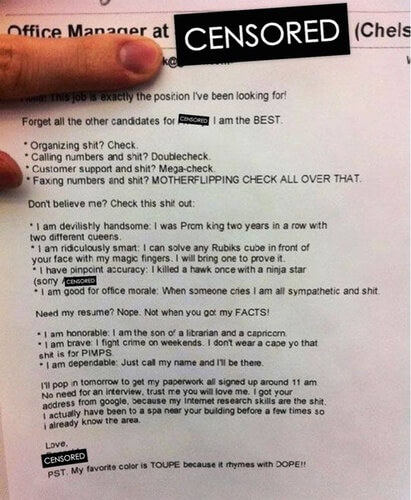 funny bad resume examples