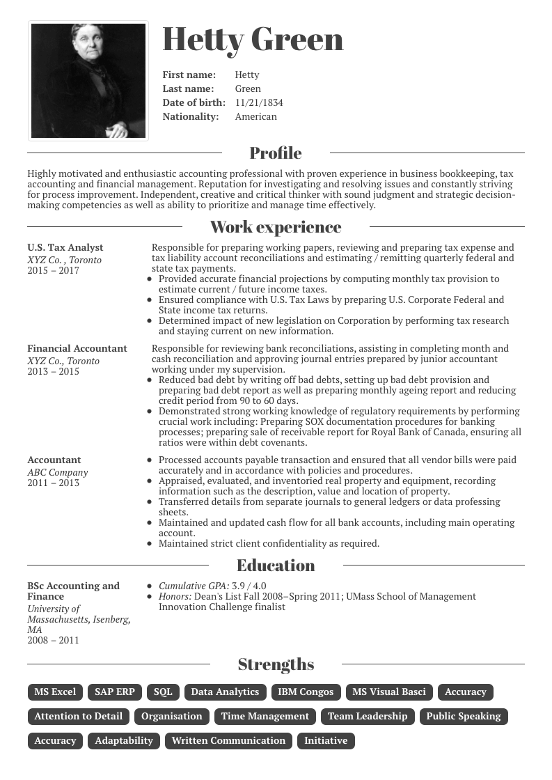 keywords in resume for accounting