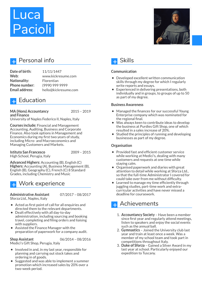 example of a resume for an accounting job