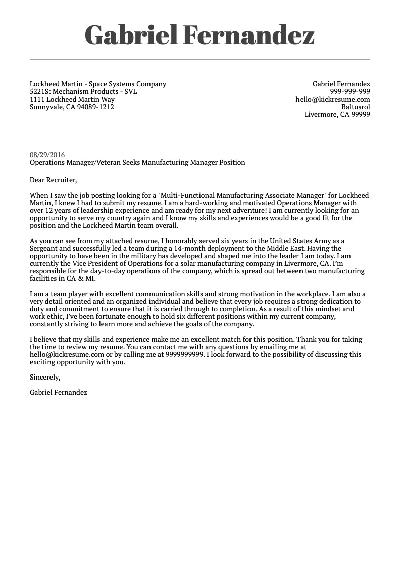 lockheed martin cover letter sample