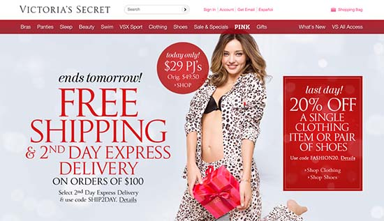 victoria's secret 3 deals on one page